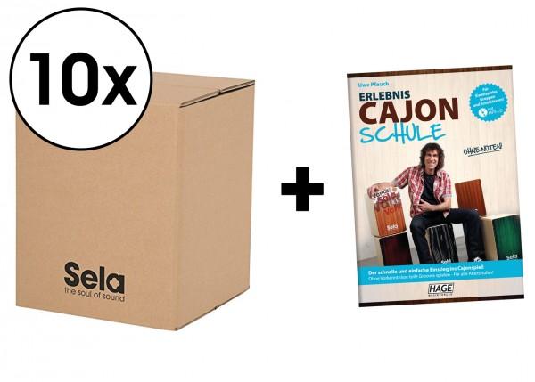 Sela Carton Cajon Mini Schulpaket - 10 x Carton Cajon Mini inkl. Erlebnis Cajon Schule