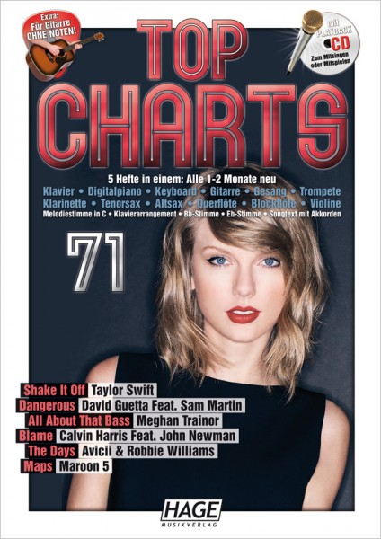Top Charts 71 (mit CD + Midifiles, USB-Stick)