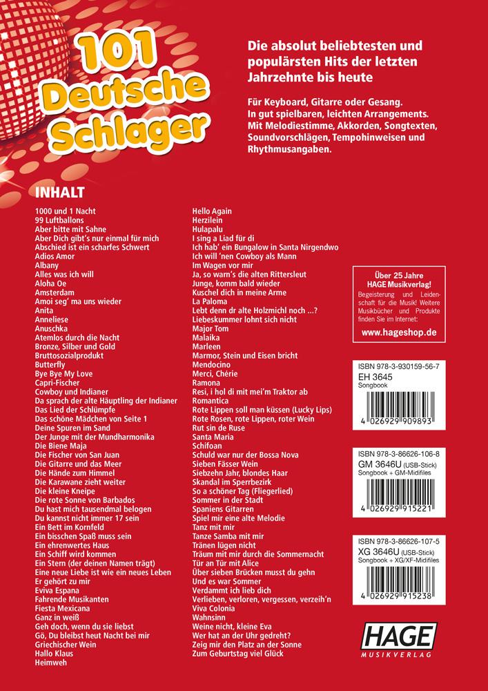 MP3 CD HAGE 101 deutsche Schlager SONGBOOK NOTEN Keyboard Gitarre EH4645 NEU