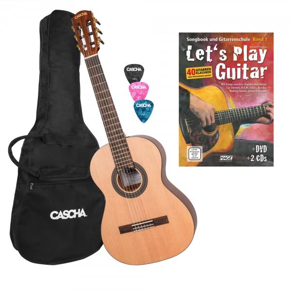 3/4 Konzertgitarre Bundle mit Let's Play Guitar